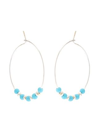 Sterling Silver Turq Beaded Hoop Earrings