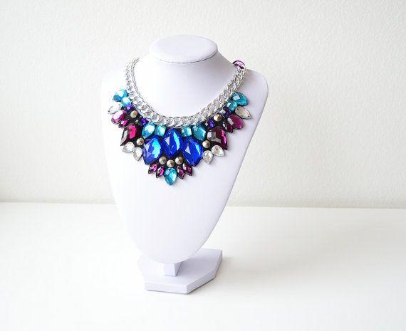 Silver Purple Turquoise Turquoise Rhinestone Gem by GemsOver