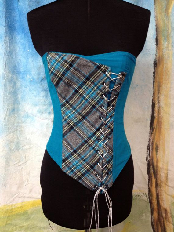 Stunning Asymmetrical Corset in Turquoise & Grey, Celtic, Scottish Plaid, Steampunk, Victorain -Ready to ship, size 25 on Etsy, $230.00