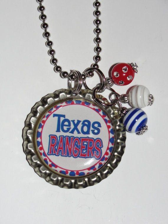 Texas Rangers bottle cap necklace by TwoTiarasBoutique on Etsy, $8.00
