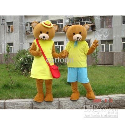 Classic Brother and sister Teddy Bear Mascot Costume Adult Cartoon Character Costumes mascot costume Fancy Dress Party Suit