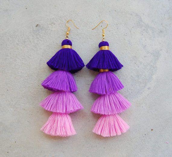 Four Layered Ombre Purple Tassel Earrings