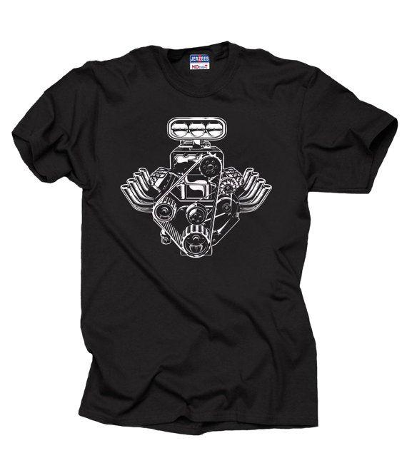 Racer T-shirt Car engine Motor Pistons Tee shirt Automobile Auto American muscle Cars Racing car shirt