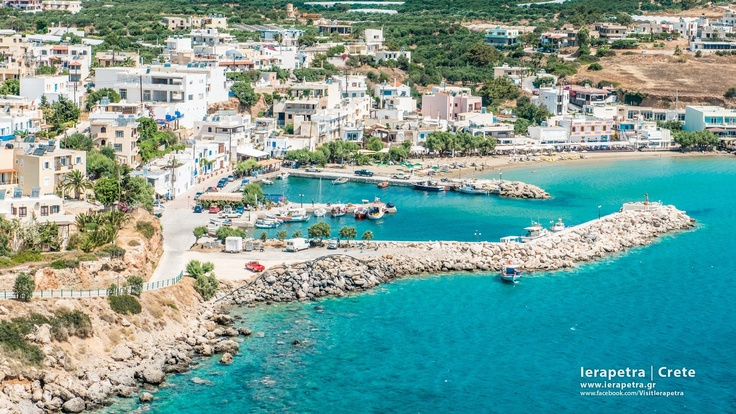 Makry Gialos in Ierapetra district. Aerial view, (port, part of the village's beach front) .    Ο Μακρύ Γιαλός από ψηλά (λιμανάκι, τμήμα της παραλίας) .   ( CC-BY-SA 3.0)