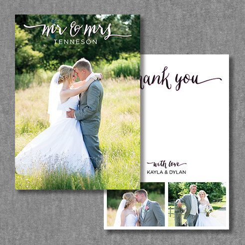 These custom, printable photo thank you cards are unique and are completely customizable to match your wedding!