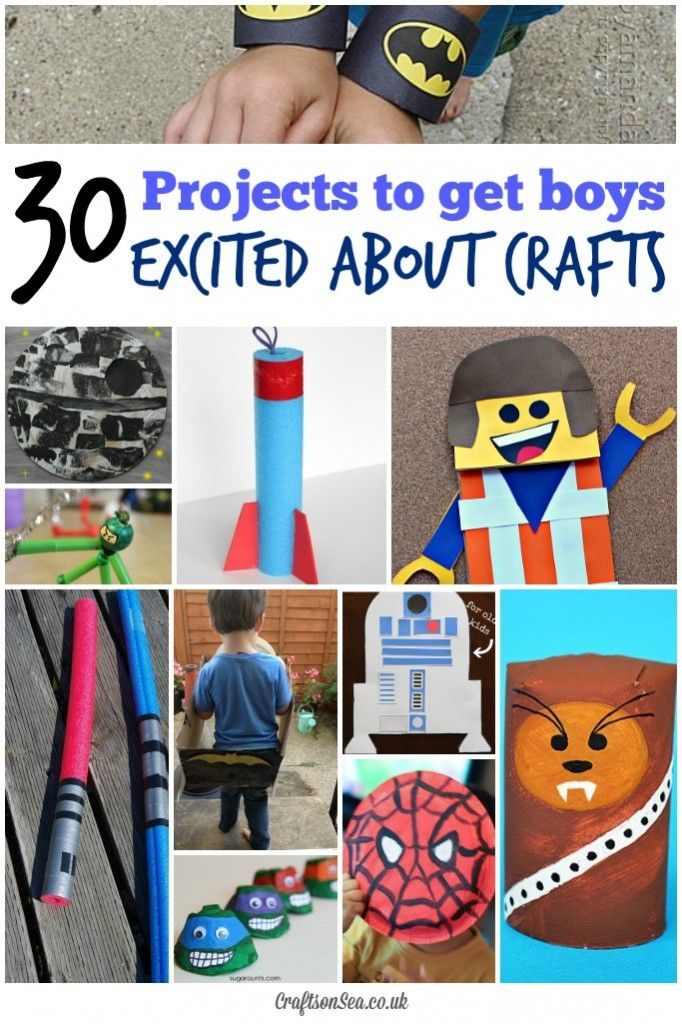 Cool craft ideas for boys, things that they will be excited to make! Including Spiderman, Batman, TMNT, Star Wars and Minecraft crafts.