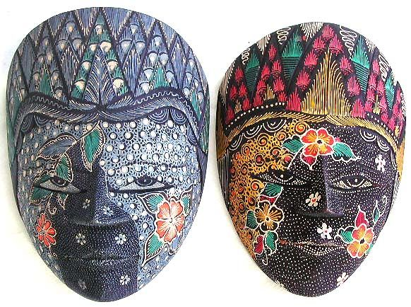 Balinese-batik-mask, Aboriginal bali mask with decorative painted face