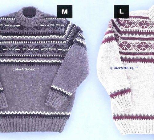 Два жаккардовых пуловера по одной схеме ... спицами. Обсуждение на LiveInternet - Российский Сервис Онлайн-Дневников