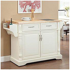 Cream Kitchen Cart with Granite Insert at Big Lots.