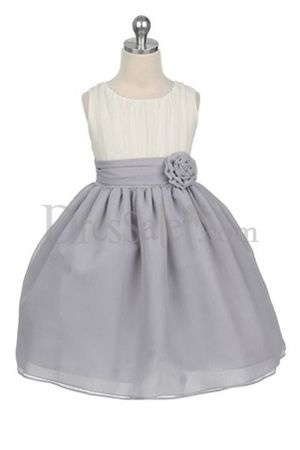 Like this, but with a navy blue flower. Maybe the top part should be grey too? @Bonnie Jo Greek {Grey Chiffon Flower Girl Dress}