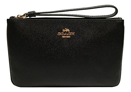 Women's Fashion Wristlets Coach Crossgrain Leather Large Wristlet Black F57465