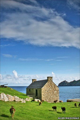 St Kilda (Scottish Gaelic: Hiort) is an isolated archipelago 64 kilometres (40 mi) west-northwest of North Uist in the North Atlantic Ocean. It contains the westernmost islands of the Outer Hebrides of Scotland. - http://news.bbc.co.uk/local/highlandsandislands/hi/people_and_places/newsid_8949000/8949759.stm