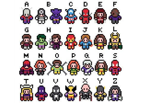 I would pay $5 for the little Deadpool alone - so cute!! Marvel Alphabet Cross Stitch Pattern PDF by XStitchMyHeart on Etsy, £5.00