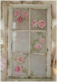 They have frost spray at Walmart in a lot of colors, white, green, blue, once you spray your glass you can either paint free had your roses, or decoupage them on either way they will look so farmhouse shabby chic.