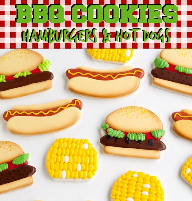 BBQ Cookies -Hot Dogs & Hamburgers | Hot dogs, Sugar cookies and ...