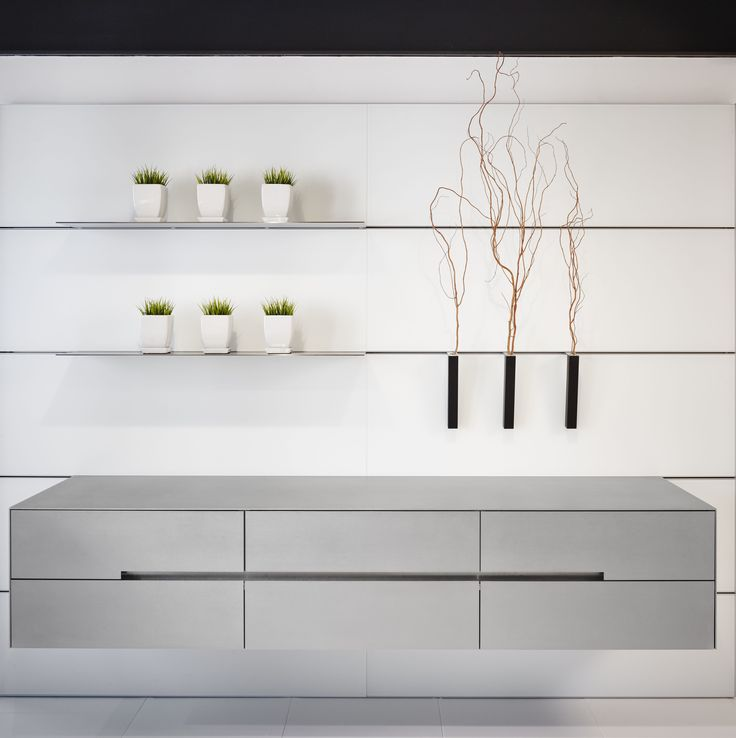 Cold rolled steel suspended cabinet + Eggersmann's wall system (The Wall System).
