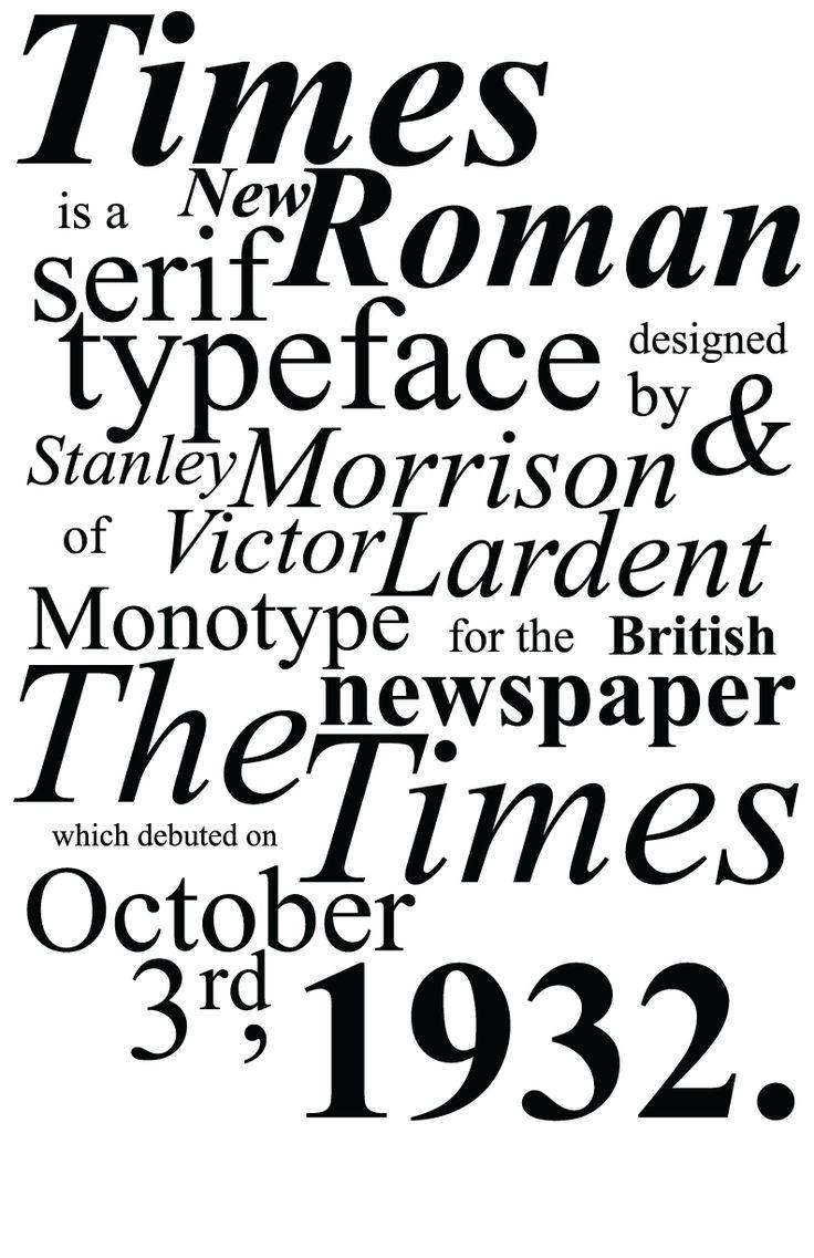 Times new roman, Famosa perquè va ser la primera en ser creada especialmetn per un diari, i que el diari es diu The Times, i per això la tipografia va acollir el nom de Times new Roman