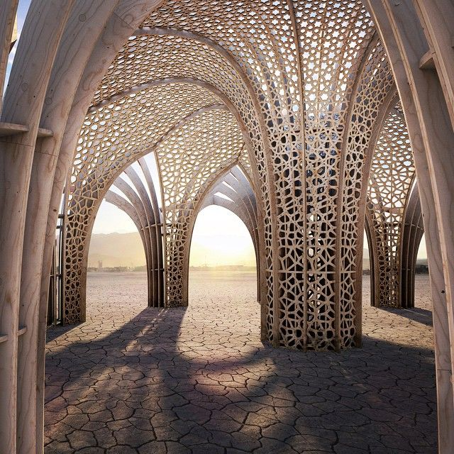 Arbour is a miniature cathedral in the dust; a parametric forest inspired by the geometry of medieval sacred architecture. This installation is being brought to Black Rock City in 2015 by the crew that build last year's Hayam Sun Temple and they currently raising funds to help with construction. You can donate to this and many other projects on the Support a Project page of burningman.org. #burningman