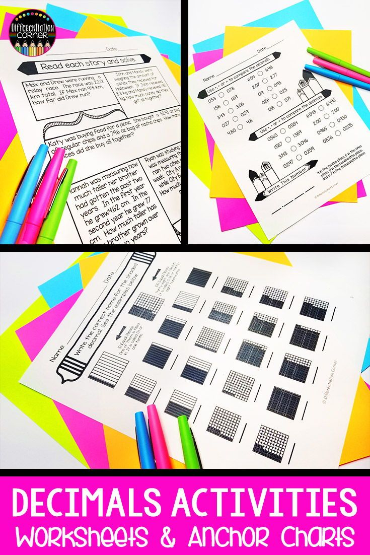 Math Activities for Teaching Decimals in 4th or 5th Grade- Math Centers- Math  Worksheets   Teaching decimals [ 1102 x 735 Pixel ]