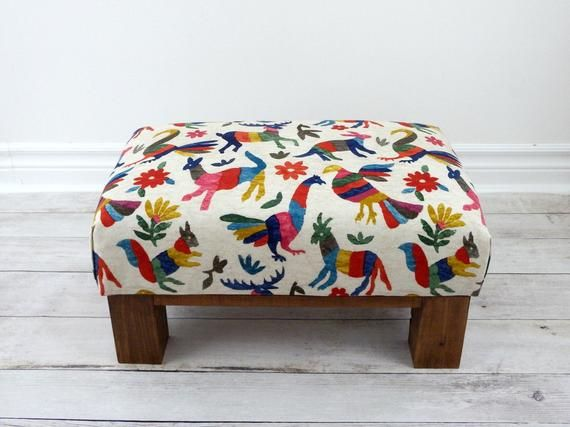 Ottoman Stool Rustic Boho Footstool Small Colorful Ottoman