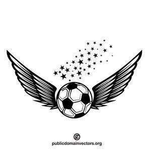 Football ball with wings vector image in public domain