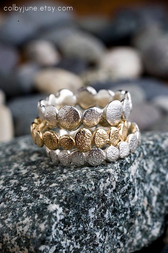 Sterling Silver Mini Silver Stacking Ring Organic Wild Texture