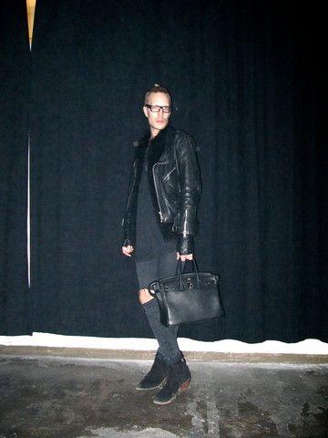 Vesa Perakyla - Vintage Biker Jacket, Serpentiini Sheep Fur West, Self Customized Sleeveless Shirt, Self Customized Dr Denim Skinny Jeans, Hermés Leather Bag, Vintage Heeled Ankle Boots - DARK Shadow