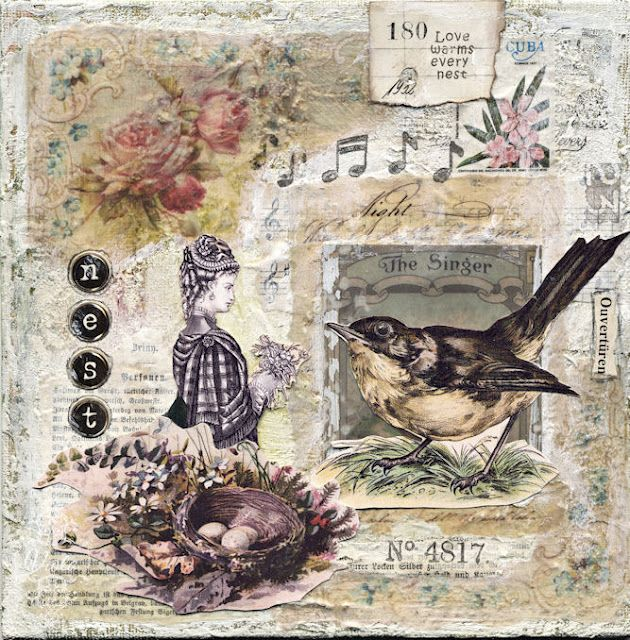mixed media collage on canvas board - another idea for shabby chic card. Gorgeous