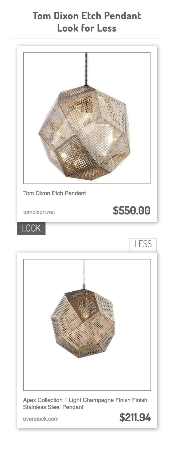 Tom Dixon Etch Pendant vs Apex Collection 1 Light Champagne Finish Finish Stainless Steel Pendant