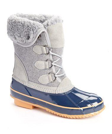 Look at this #zulilyfind! Gray & Navy Fold-Over Jilly Boot #zulilyfinds