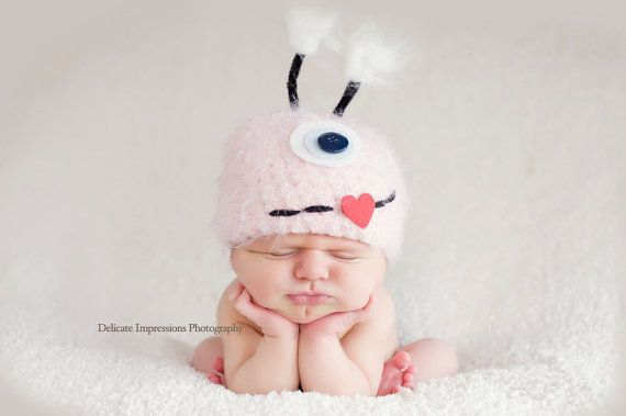 Pink Little Monster Newborn Baby Hat Photography by FashionTouch, $30.00