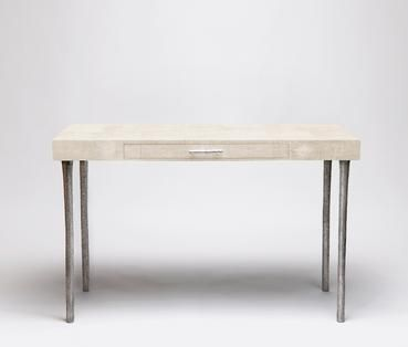 Faux Shagreen Desk with Svelte Silver Metal Legs and Handle,