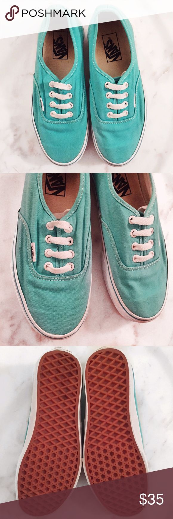 Turquoise Authentic Vans Gently used but in amazing condition! Size 6. Bundle for a discount. Vans Shoes Sneakers