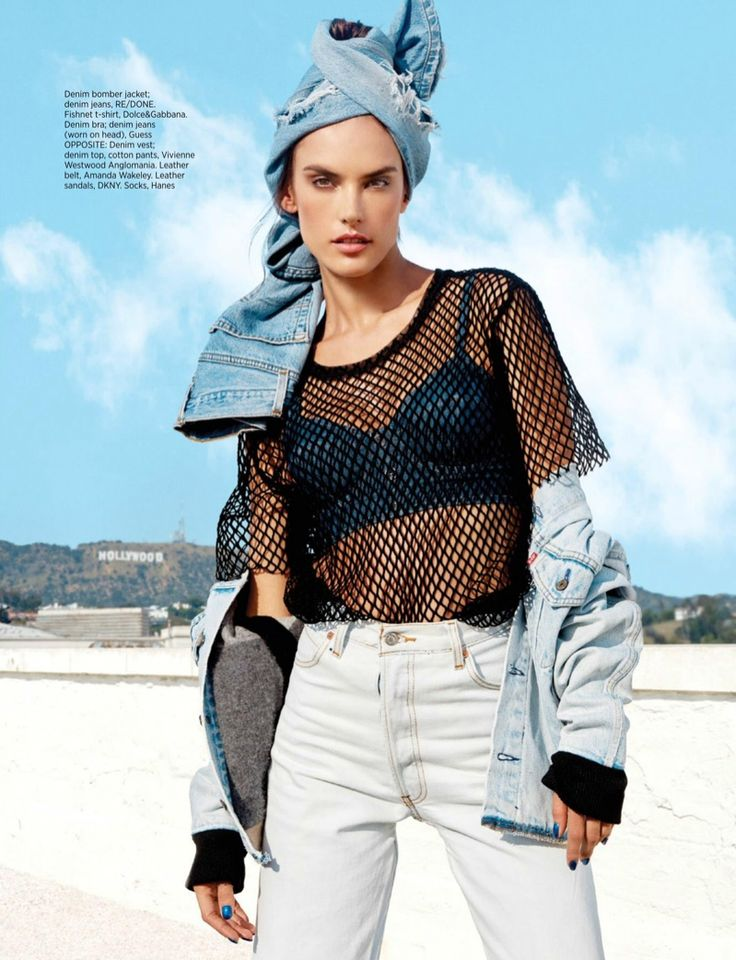 Alessandra Ambrosio poses in RE/DONE denim jacket and jeans, Dolce & Gabbana mesh t-shirt and Guess denim bra for Harper's Bazaar Magazine Singapore January 2017 issue
