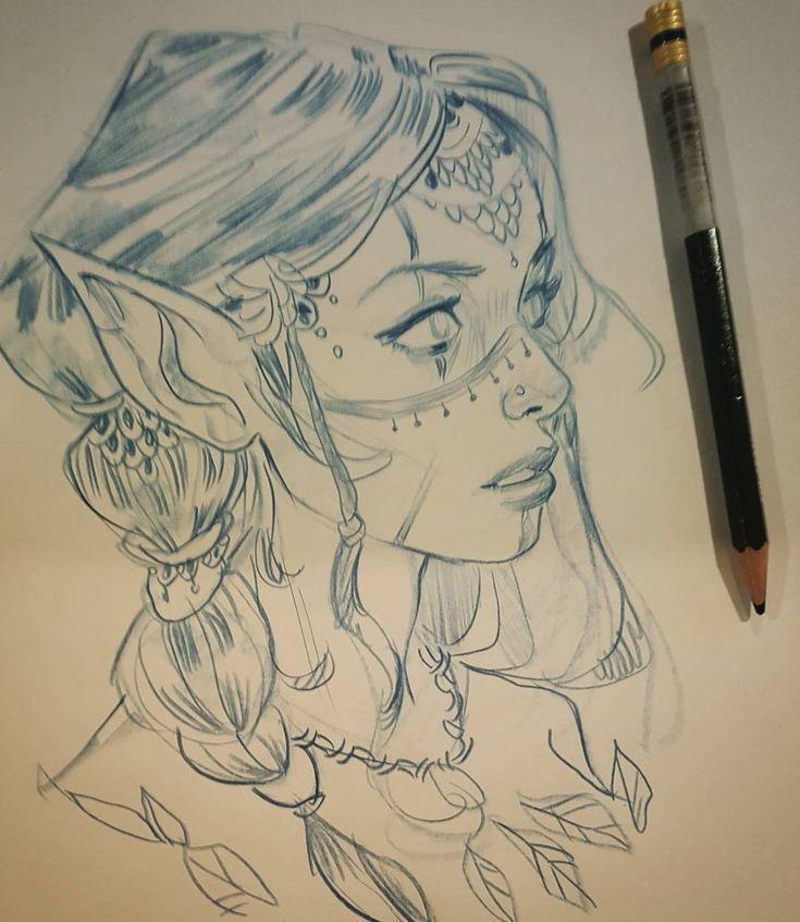 Bleistiftzeichnung – Idee für Oswyns Frisur und G…