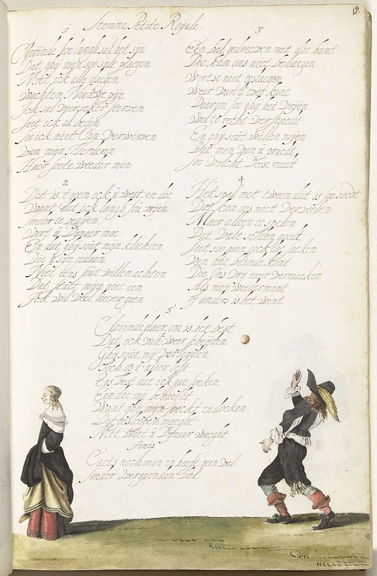 Gesina ter Borch   Heer die een bal gooit en een dame, Gesina ter Borch, c. 1652 - c. 1653   Heer die een bal gooit en een dame die hem de rug toekeert. Het gooien van de bal die niet teruggegooid wordt is een metafoor voor zijn onbeantwoorde liefde. Liefdesklacht van vijf coupletten van negen regels, op de wijs van Petite Roijale.