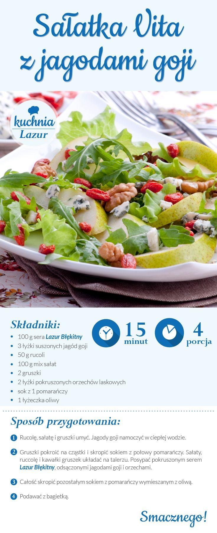 Sałatka Vita z jagodami goji /sałatka /jagody /Vita /Lazur /ser pleśniowy /rokpol /przepisy /kuchnia lazur