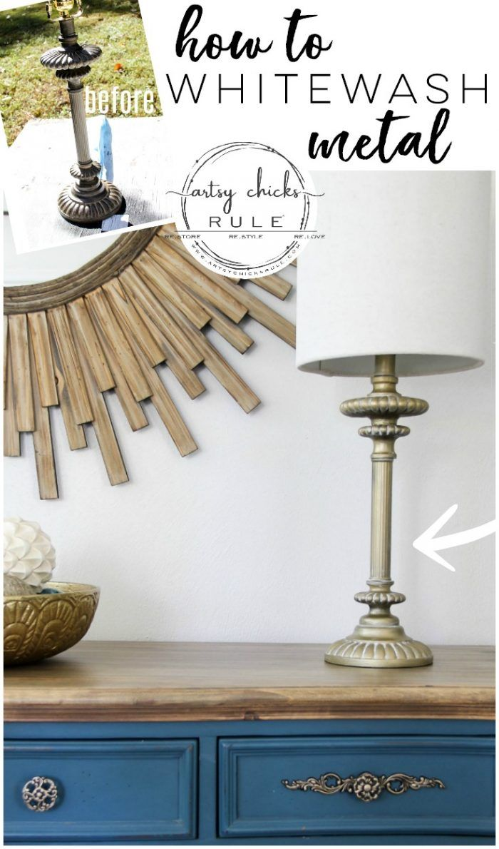 How To Whitewash Metal Lamp Base And Shade Makeover Metal