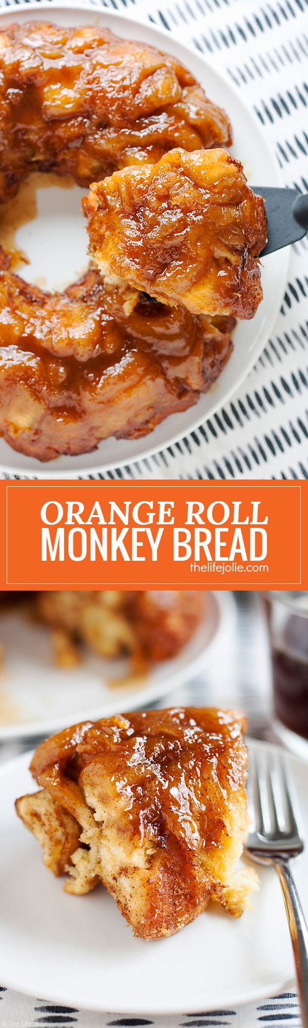 Orange Roll Monkey Bread is an easy and delicious twist on a family favorite recipe. It's so simple to transform refrigerated Orange Cinnamon rolls in to a sweet and gooey pull apart bread. This is a great Christmas morning breakfast and easy enough to make the night before as well!