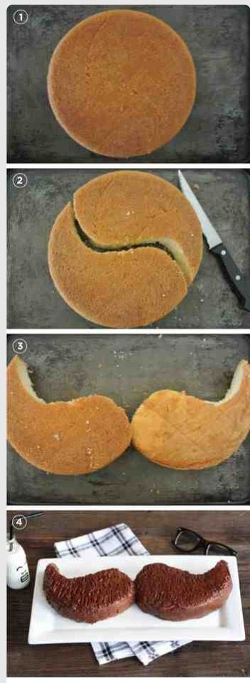 Mustache cake circle 8 by 3 inch pan cut flip one side Father's Day