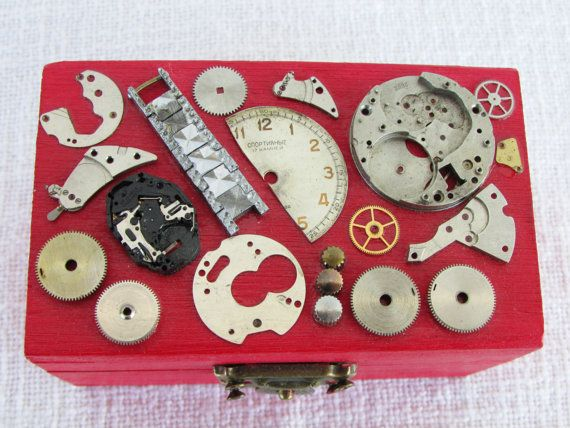 Steampunk jewelry box watch gears box custom gift red