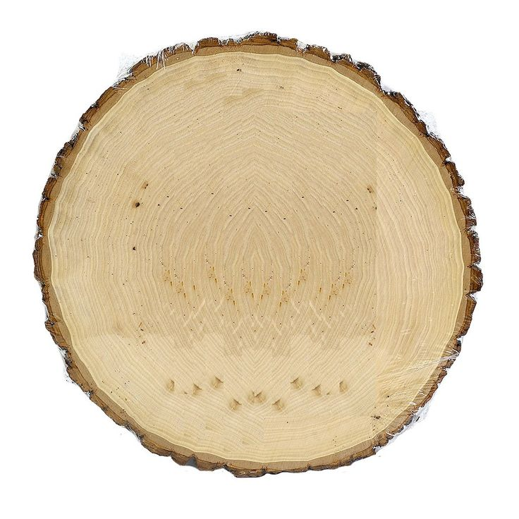 The thick, round-shaped wooden plaque has a finely sanded surface and natural bark around the outer edge. It makes a great base for candlescapes, silk flower arrangements and rustic craft projects.