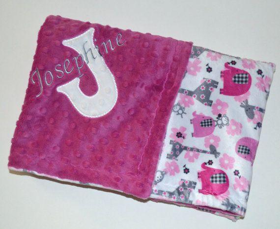 Monogrammed Baby Blanket  Minky Raspberry Pink by MoonbeamMinky
