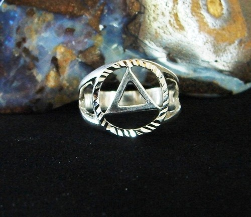 Sterling Silver Alcoholics Anonymous 1 2 Dia Cut Aa Symbol Ring