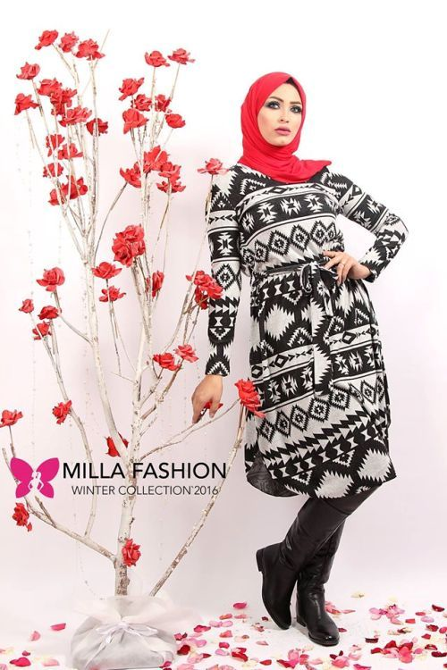 Aztec short dress hijab look, Winter hijab outfits in warm colors by Milla http://www.justtrendygirls.com/winter-hijab-outfits-in-warm-colors-by-milla/