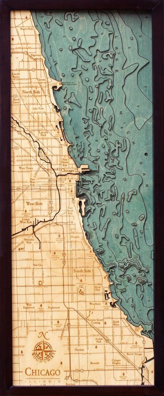 Beautifully engraved 3D map of Chicago It