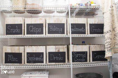 Farmhouse Storage Ideas, chalkboard label pantry storage boxes | DuctTapeAndDenim.com
