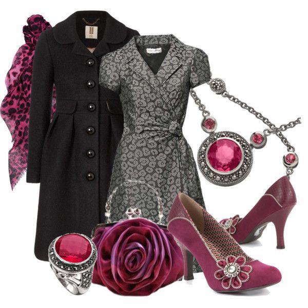 """Ruby Shoo Purple Monroe Diamante Flower Court Shoes"" by aannggiiee on Polyvore"