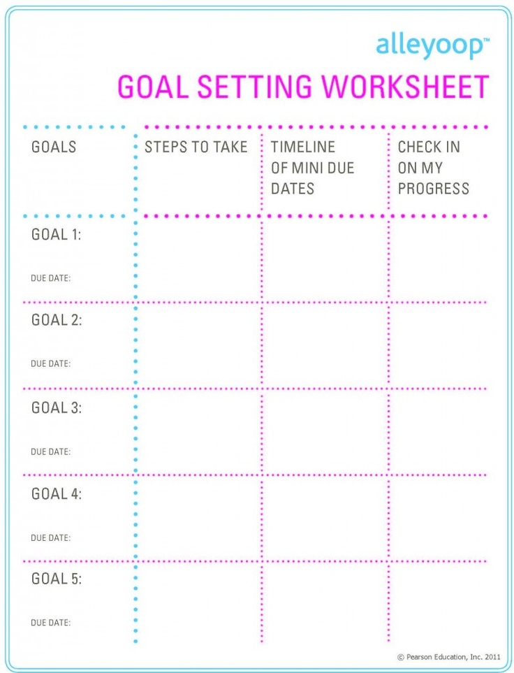 Worksheet High School Goal Setting Worksheet goals printable goal settings and printables on pinterest