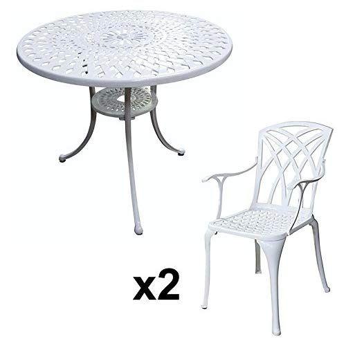 Lazy Susan - Table ronde 90 cm MIA et 2 chaises de jardin ...